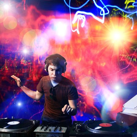Dj playing disco house progressive electro music at the concert Stock Photo - 6332349