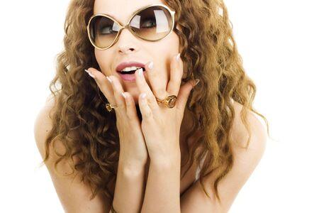 A sexy girl in sunglasses photo