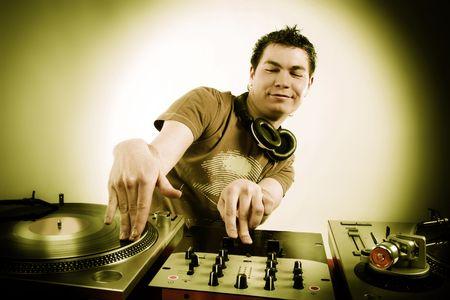 Dj playing disco house progressive electro music photo