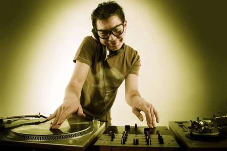 Dj playing disco house progressive electro music Stock Photo