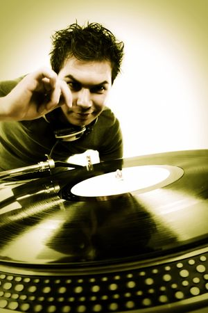 Dj playing disco house progressive electro music Stock Photo - 6644622