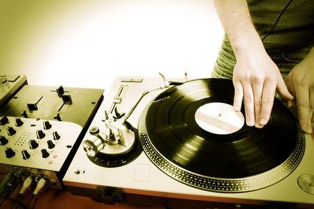Dj playing disco house progressive electro music Stock Photo