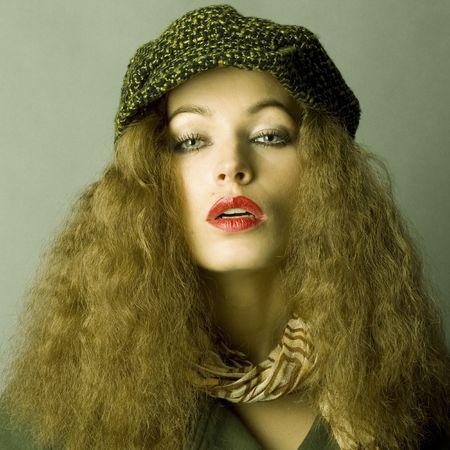 fashion model in autumnwinter clothes photo