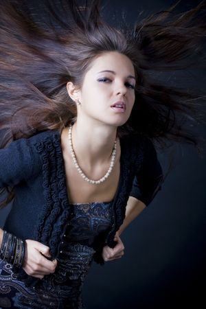 Portrait of a beautiful young woman with luxuus hair Stock Photo - 6644658