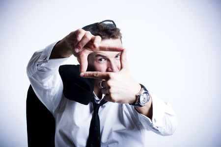 attractive young businessman planning photo
