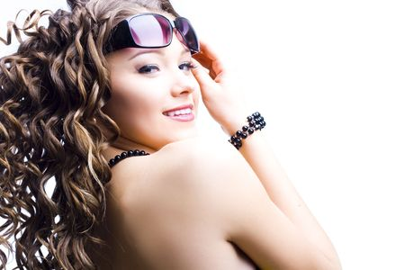 beautiful woman in sunglasses on white background LANG_EVOIMAGES