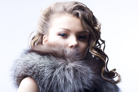 portrait of a beautiful lady in fur Stock Photo - 6834712