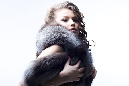 portrait of a beautiful lady in fur Stock Photo - 6834718