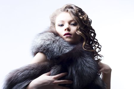 portrait of a beautiful lady in fur Stock Photo - 6834709