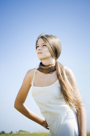 Beautiful girl with luxuriant hair outdoor Stock Photo - 7525747