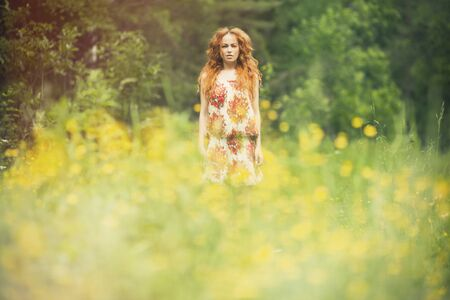 summer dress: Beautiful woman outdoors enjoying nature in dress at summer meadow Stock Photo