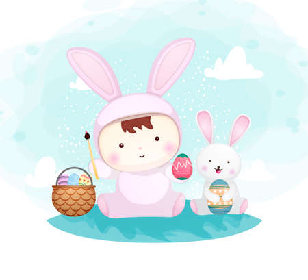 Cute baby boy in bunny costume with little bunny Premium Vector