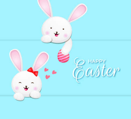 Happy easter greeting card with bunny couple and colorful eggs