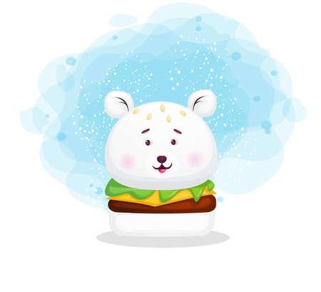 Cute little burger in animal illustration. Polar bears cartoon character Premium Vector