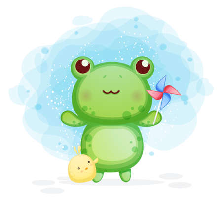 Cute frog with chicks playing windmills cartoon illustration