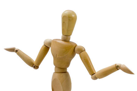 Wooden figure in a gesture indicating being unsure Stock Photo - 6144316