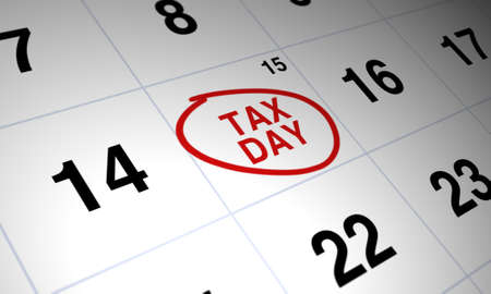 Tax day circled in red on white calendar