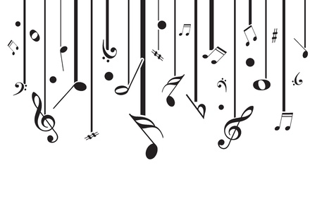 vocal: High quality vector music notes with lines