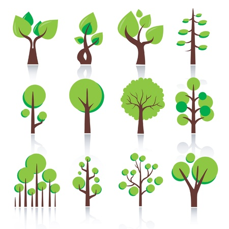 Vector isolated green plants and leaves.