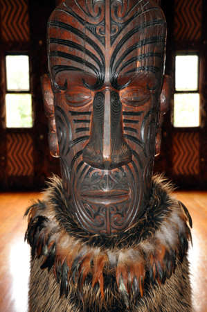 nz: Maori carving inside the Treaty House, Waitangi, NZ