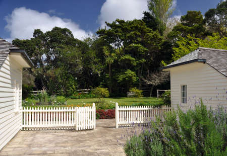nz: English garden at James busby house, Waitangi, NZ