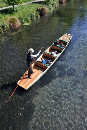 punting: Punt in the English style Botanical Gardens, Christchurch, New Zealand  Editorial