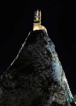 frence: The Chapel built on the top of a needle of volcanic lava Stock Photo
