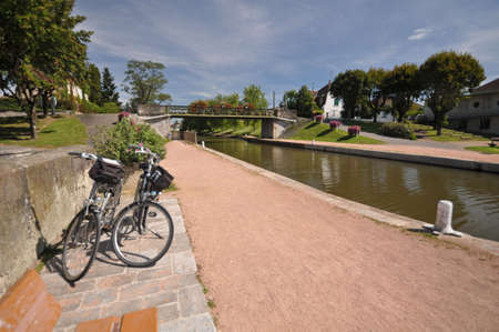 velo: The Canal de Roanne a Digoin  at Digoin in Burgundy. The Voies Verte cycle route follows the canal.