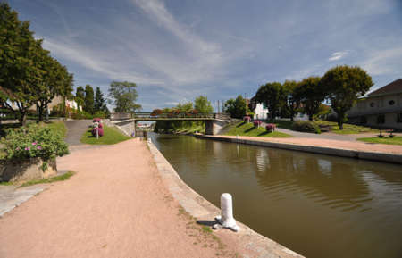 The Canal de Roanne a Digoin  at Digoin in Burgundy. The Voies Verte cycle route follows the canal.