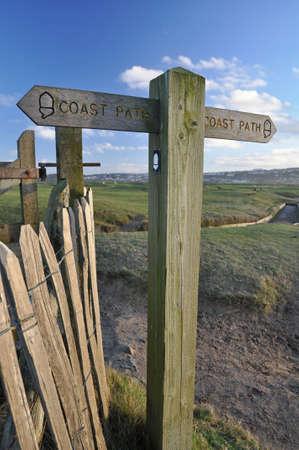 burrows: Southwest coast path sign on the burrows between Westward Ho and Northam, near Bideford in North Devon