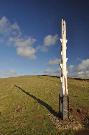 baggy: The old coastguard wreck post on the headland at Baggy Point is the only one remaining in North Devon. The post is passed by walkers who follow the path from Croyde to Baggy Point or those who are following the Southwest Coast Path, North Devon, England. Stock Photo