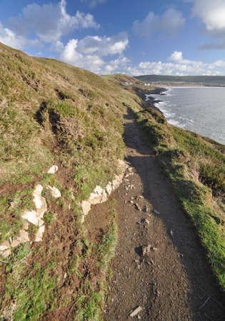 baggy: Southwest Coast footpath near Baggy Point headland looking back towards, Croyde, North Devon, England