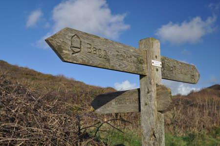 baggy: Direction sign on the Southwest Coast footpath near Baggy Point headland, Croyde, North Devon, England