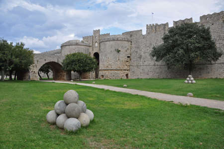 walled: The dry moat encircles the ancient walled Rhodes City, on the Greek island of Rhodes