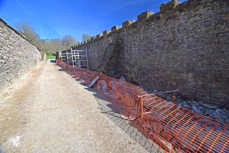masonary: Restoration of ancient wall Stock Photo