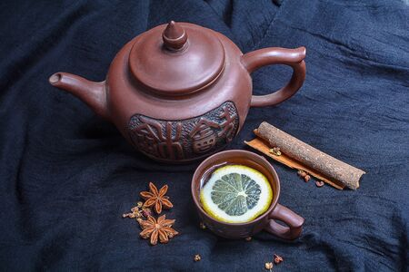 chinese teapot: Chinese teapot with small cups and spices