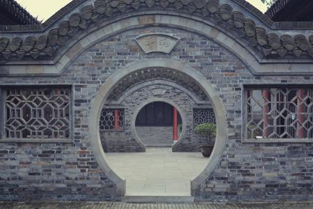Round doorway in ancient garden in China