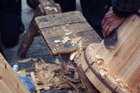 wood craft: wood craft,  tools and processes work closeup