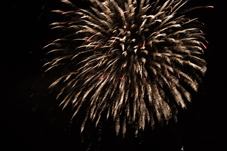 Brightly colorful fireworks and salute of various colors in the night sky background