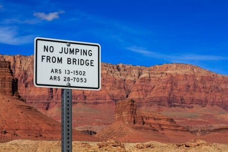 Signage with jumping restrictions on a foot bridge, Arizona, US