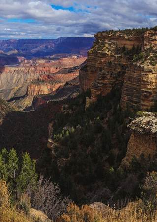 Picturesque view of rock formation on the south rim of the Grand Canyon National Park, Arizona, United States