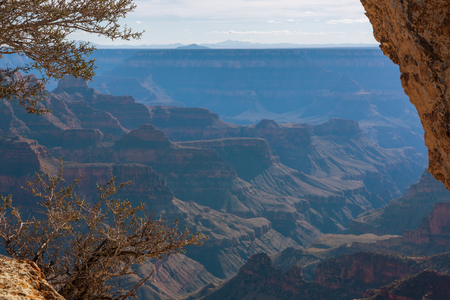 Awesome Landscape of Grand Canyon from the north rim. Arizona US Stock Photo
