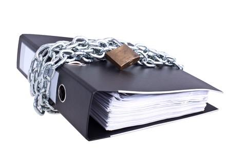 Data safety, folder locked with big chain Standard-Bild