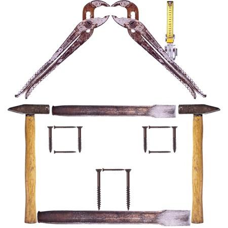 Ein Haus aus Tools, isolated on white background Standard-Bild - 8109572