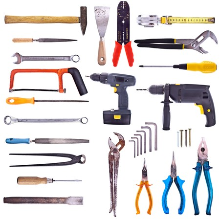 Large Collection Of Used Tools - Completely Isolated On White, Very High Detail.  photo