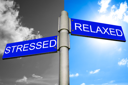 destress: Healthcare concept - Street signs showing the paths to stressed and relaxed