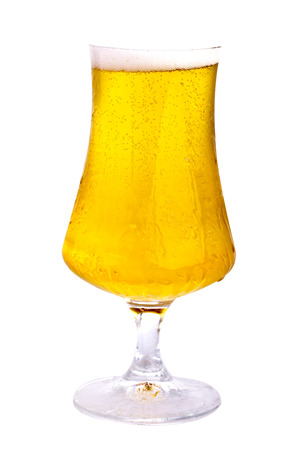 Beer glass isolated on white photo