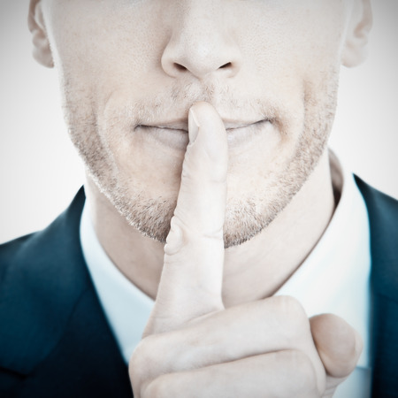 silence gesture: Pssst Silence concept Stock Photo
