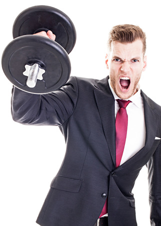 Success Concept - Businessman lifting dumbbell and screaming, isolated on white