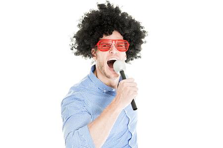 Verrückte junge Partei Man - Photo Booth Foto Standard-Bild